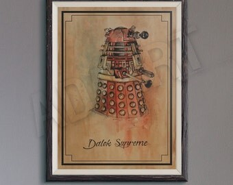 Dalek Supreme of Doctor Who illustration limited edition watercolor copy