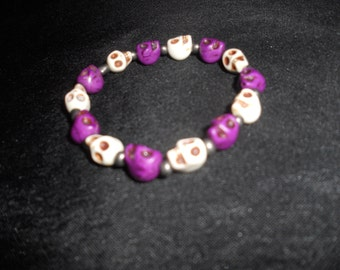 Gothic sugar skull silver beaded bracelet, punk rock alternative custom handmade skull jewelry for casual to Halloween free shipping