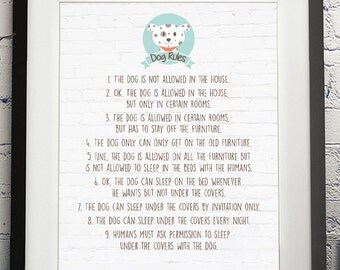 Dog rules poster, pet wall art 8x10, You print!
