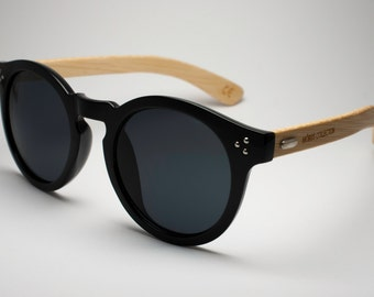 Hepburn - Round Black Eco-friendly Bamboo Sunglasses