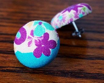 Fabric Button Earrings - Japanese cotton fabric