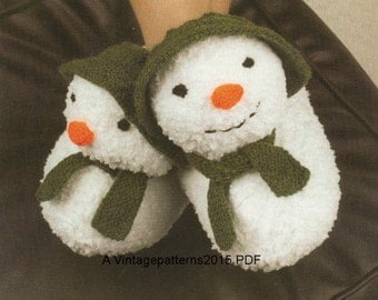 The Snowman Slippers Knitting Pattern  -     PDF Download