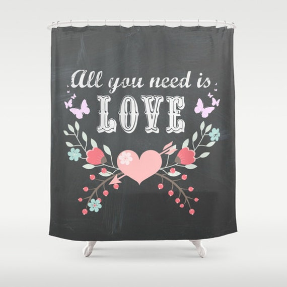 All You Need is Love Shower Curtain: Home decor, bathroom, typography, quote, chalkboard, dark gray, Beatles, pink, writing, words