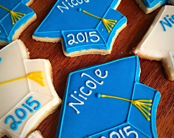 One Dozen - Graduation Cookies - Party Favors - Motarboard - Graduation Cap