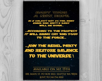star wars a new hope parody baby shower invitation customizable 5 x 7