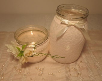 Pink Couple of vintage center pieces candle holder jars. wedding decorations.