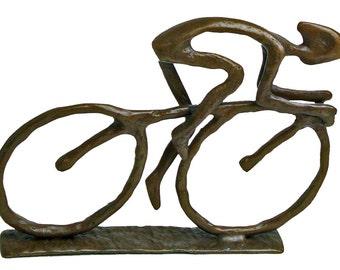 Cyclist Cast Bronze Sculpture Mens Sports Cycling Handmade Contemporary Home Decor Danya B™ ZD480