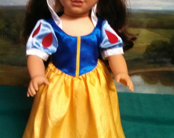 Snow White Costume for American Girl size doll.   A04