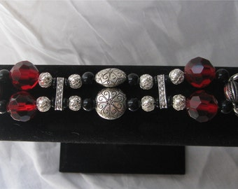 Elegant Red, Silver & Black Interchangeable Watch Band