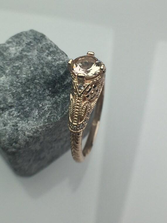 14k Rose Gold 5mm Morganite Art Deco ring