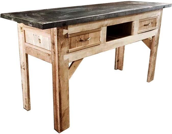 repurposed recycled wood and slate bar table by. Black Bedroom Furniture Sets. Home Design Ideas
