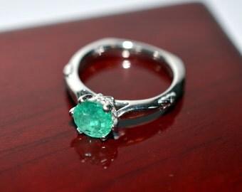 Estate 1.40tcw Colombian Emerald & Diamond Platinum Ring
