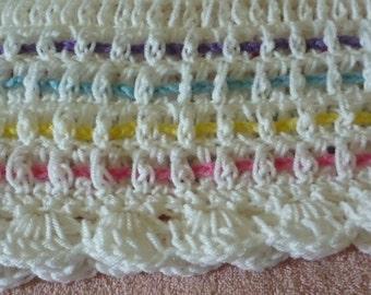 Crochet Baby Afghan White w/ Rainbow Stripes