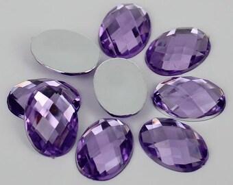20pcs Purple Oval Shape Acrylic Flatback Rhinestones 13x18mm Decoden, DIY Phone Case, Scrapbooking