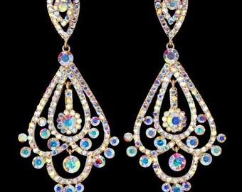 Gold Chandelier Earrings | Long Chandelier Earrings | Pageant Earrings | Gold Pageant Earrings | Gold Prom Earrings | Bling Jewelry | 202-13