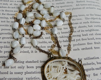Beautiful 1930's Vintage Celluloid Brooch hung by 1940's Vintage Mother of Pearl Rosary & Brass Filigree Chain Assemblage Necklace - NRU099