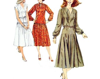 70s Simplicity 8749 Pullover Dress with Pleated Skirt, Dropped Waistline, Front Slit with Tie Opening Sewing Pattern Size 10