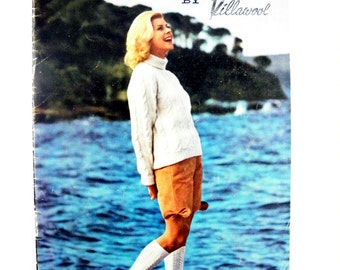 Vintage Mid-century 1959-1960 Vacation Knits Special Book No.2 Knitting Book by Villawool featuring 14 knitting patterns