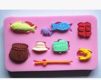FM103 fishing gear, soap molds, silicone mold, fondant mold, chocolate mold, lace mold, cake decoration mold