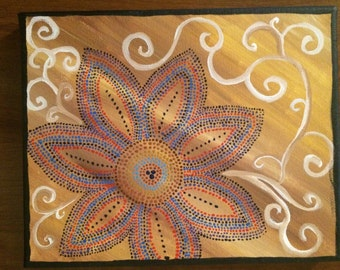 """Original hand-painted affordable dorm decor with flowers and swirls. 8""""x10"""" Canvas"""