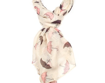 Cream Umbrella Print Scarf