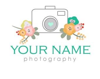 Floral Camera Logo & Watermark Design - Branding - Small Business - Photography - Photographer - Unique - Flowers - Bouquet - Feminine