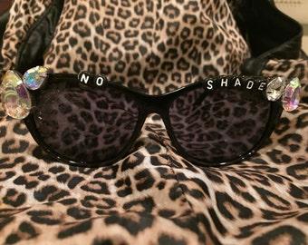 No T, No Shade No Pink Lemonade Drag Race Inspired Black Gem Sunglasses