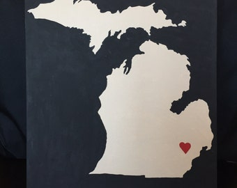 Michigan Mitten canvas painting