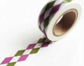Green and purple argyle washi tape