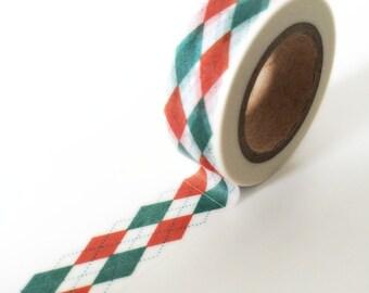Turquoise and red argyle washi tape