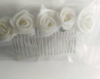 Handmade cream flower hair comb x 2