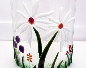 Decorative Fused Glass Floral Arrangement - Two Flowers