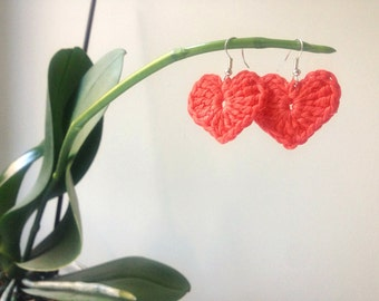 Crochet Heart Earrings