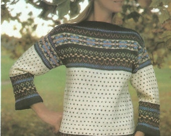 knit womans sweater boatneck patterned with long sleeves and cap  jumper tunic vintage pattern instant download pdf