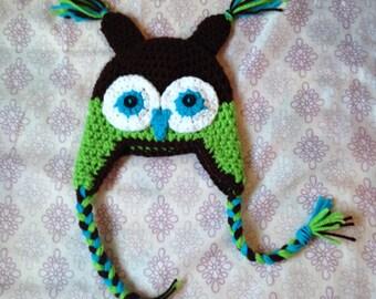 Crochet Owl Hat, earflap hat, kids winter hat