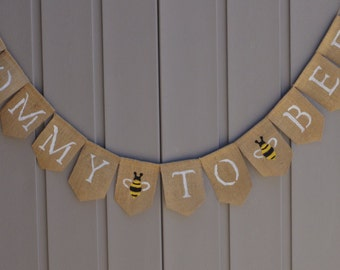 Mommy To Bee Banner, Mom To Be Banner, Bee Baby Banner, Bee Shower Decor, Bee Baby Shower Banner, Burlap Bunting, Bumble Bee Banner, Yellow