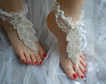 Rhinestones Lace ruffle Barefoot Sandals / bridal Anklet, beach wedding party