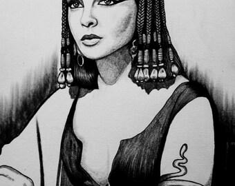 Elizabeth Taylor as Cleopatra Original Drawing