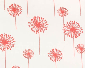 Premier Prints Dandelion in White/Coral Home Decor fabric, 1 yard