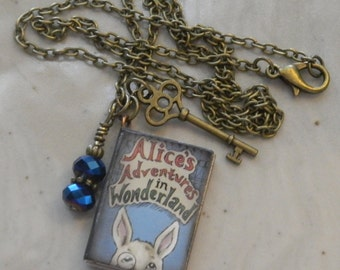 Alice in Wonderland Book-Charm Necklace for Readers/Writers/Teachers SHIPS FREE