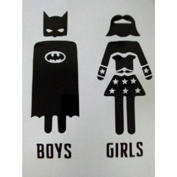 Superhero Batman & Wonder Woman Bathroom By UntamedCustomGifts