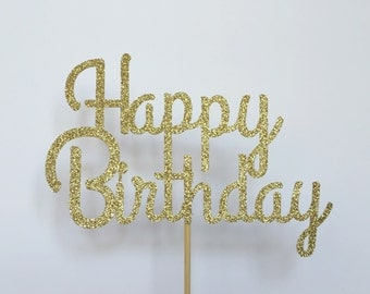Happy Birthday Cake Topper. Pick your color! Glitter Cake Topper, Birthday Cake Topper