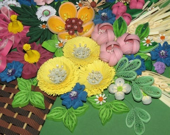 Quilling art 3D wall art picture Wildflowers Quilling handmade Paper flowers Wall decor Original wall art Paper quilling