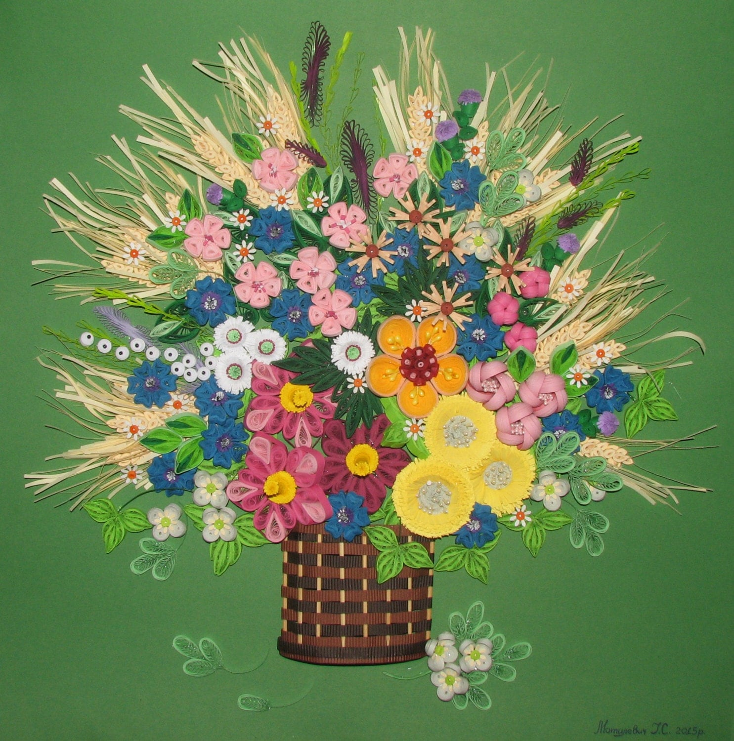 Quilling art 3d wall art picture wildflowers quilling handmade for 3d flowers for wall decoration