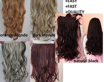 """Thick 1 piece wavy clip in extension synthetic hair curly 22"""" long one set head full  weft wig usa"""