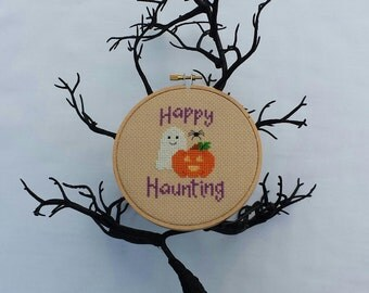 Happy Haunting Halloween cross stitch - pattern only