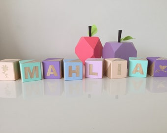 Small Personalised Stacking Blocks Wooden Nursery Baby