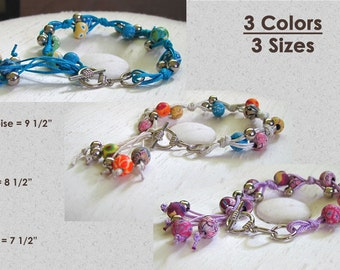 Bracelet: Polymer Clay Beads, Silver, and Knotted Satin Cord - Braided Bracelet with Toggle Clasp - 3 color choices