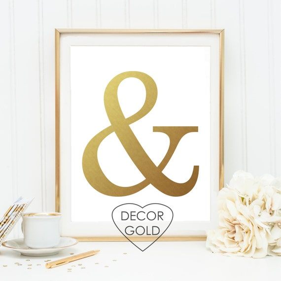 Black Ampersand Wall Decor : Ampersand and sign gold foil print poster wall art