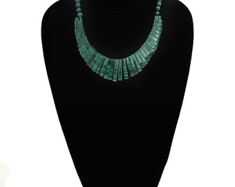Malachite Fringe Statement Necklace